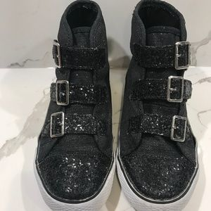 Girl's Black Sneakers with Buckles and Sparkle